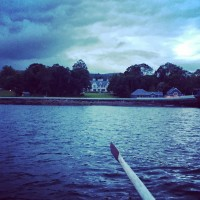 The stunning Dromquinna Manor and Boathouse Bistro at dusk