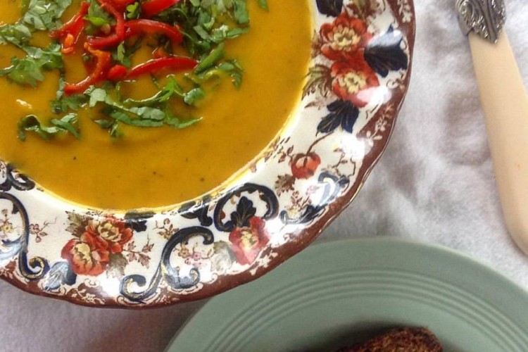 Curried Sweet Potato Soup with Coconut Coriander and Chilli