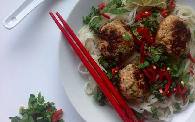 Turkey Meatballs with Rice Noodles and a Spicy Broth.
