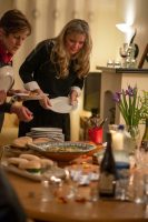 Enjoying the food at one of my Cookery Classes