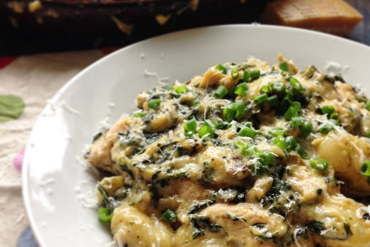 Gnocchi with Chicken & Spinach in a Blue Cheese Sauce