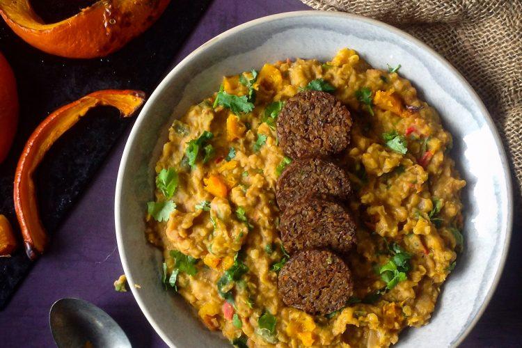 Spiced Roast Pumpkin Dahl with Vegetarian Pudding