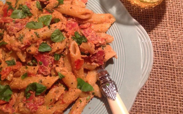 Penne Pasta with spicy sausage, chilli & cream