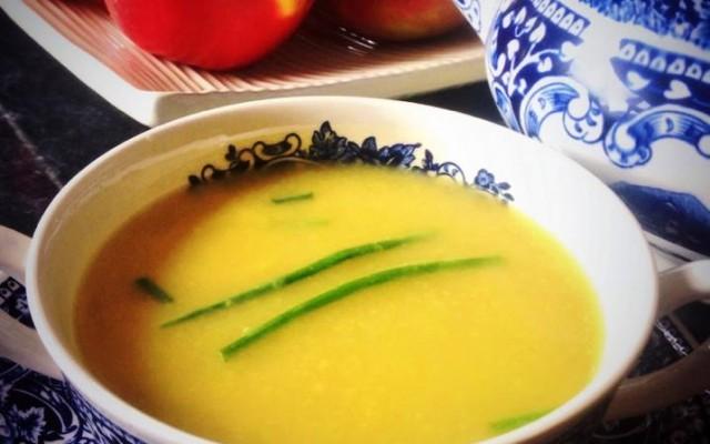 Celery, Apple and a little bit of Cashel Blue soup.