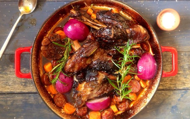 Rioja Braised Lamb Shanks with Rosemary & Garlic by Lorraine Pascale.