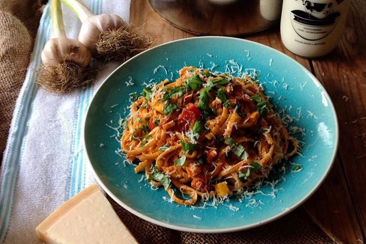 Linguine with Spicy N'duja, Tomatoes, Fennel and Yellow Courgette.